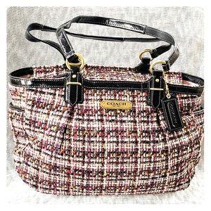Coach Gallery Multicolor Tweed Tote Handbag F20025